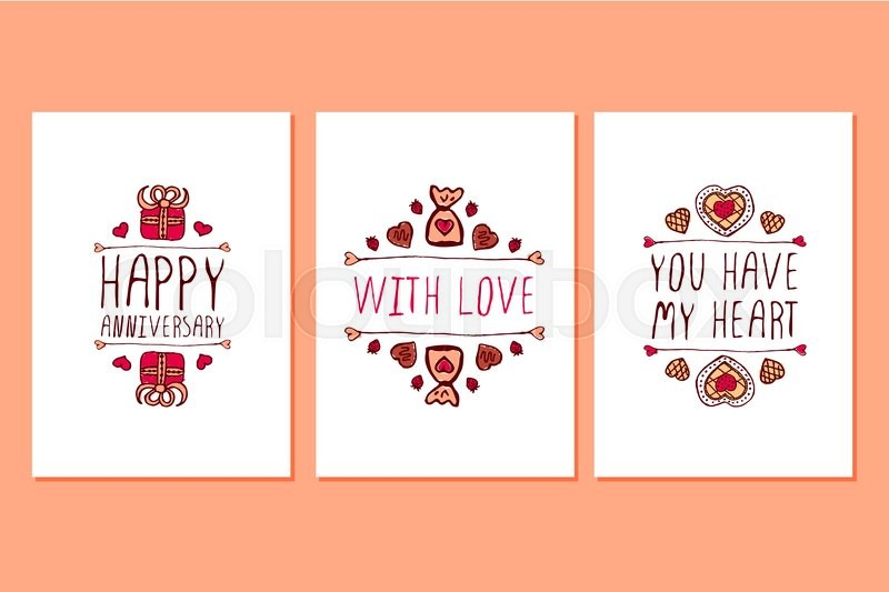 Set of Saint Valentines day hand drawn greeting cards Poster – San Valentines Cards