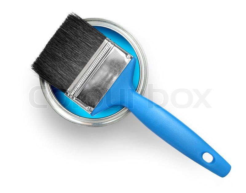 pinsel mit blauer farbe auf wei em hintergrund stockfoto colourbox. Black Bedroom Furniture Sets. Home Design Ideas
