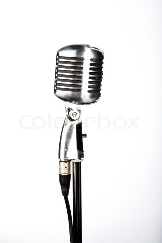 Retro microphone on stand on white | Stock Photo | Colourbox Retro Microphone With Stand