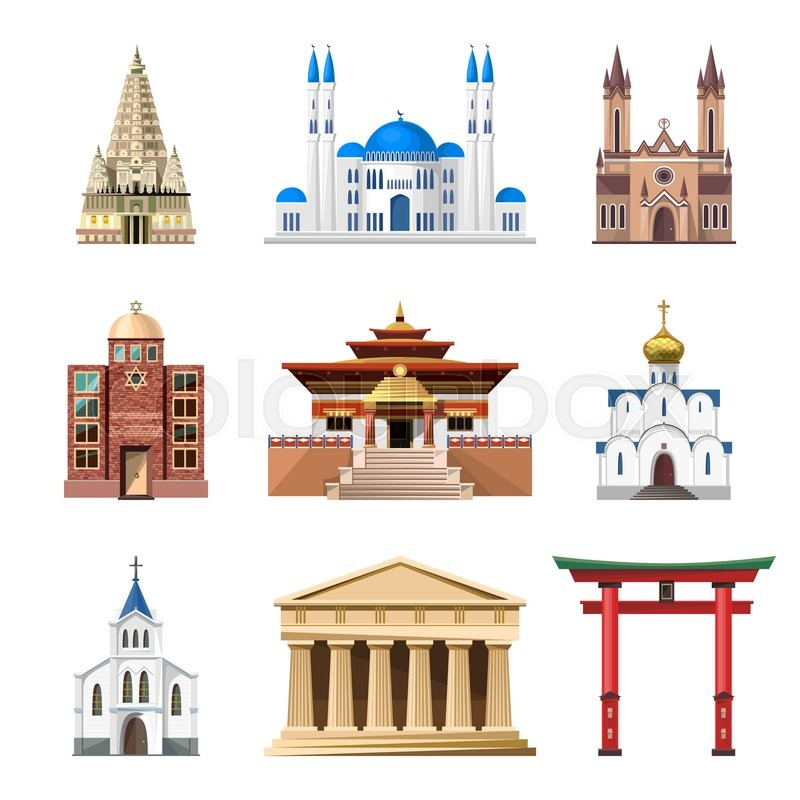 cathedrals churches and mosques vector building set. Black Bedroom Furniture Sets. Home Design Ideas