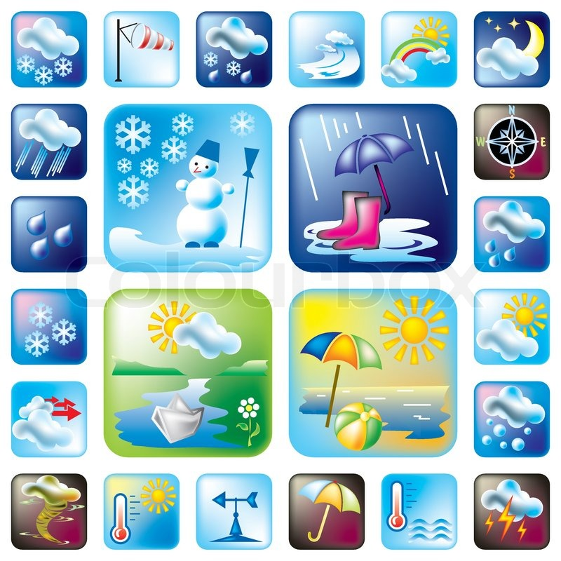 Stock vector of 'Weather and season symbols'