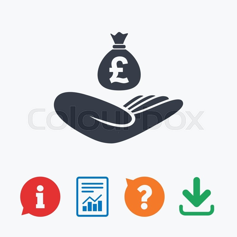 Money Insurance Sign Hand Holds Cash Bag In Pounds Symbol