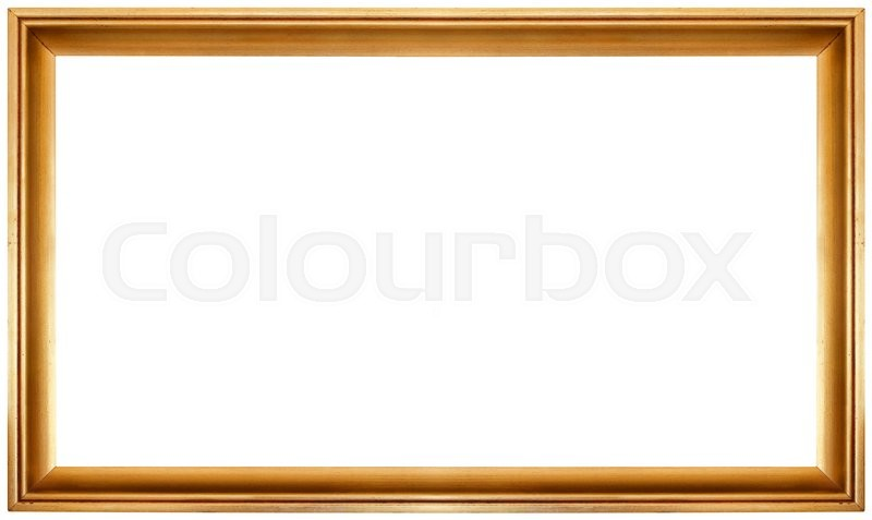 Simple Golden Frame Isolated On White Stock Photo