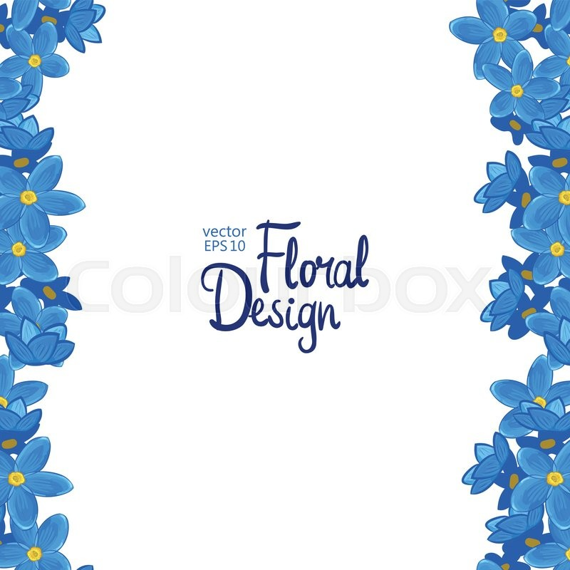 vector vertical border with blue forget me not flowers on a white background and place for your. Black Bedroom Furniture Sets. Home Design Ideas
