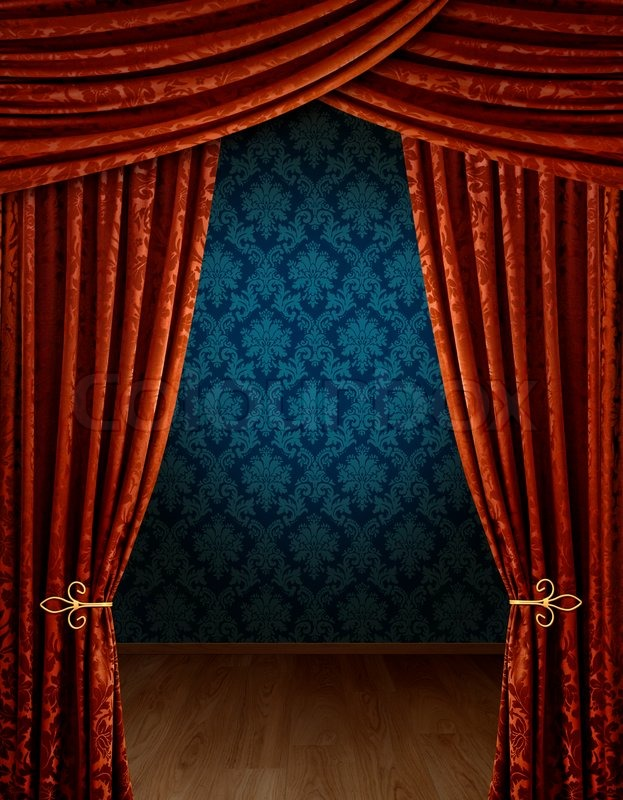 Red Curtains Reveal Open Stage Image 1759718 on Victorian Ornamental Border Brown