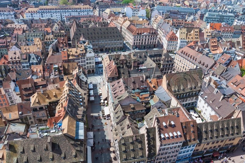 Aerial View Of Strasbourg Old Town With Stock Photo