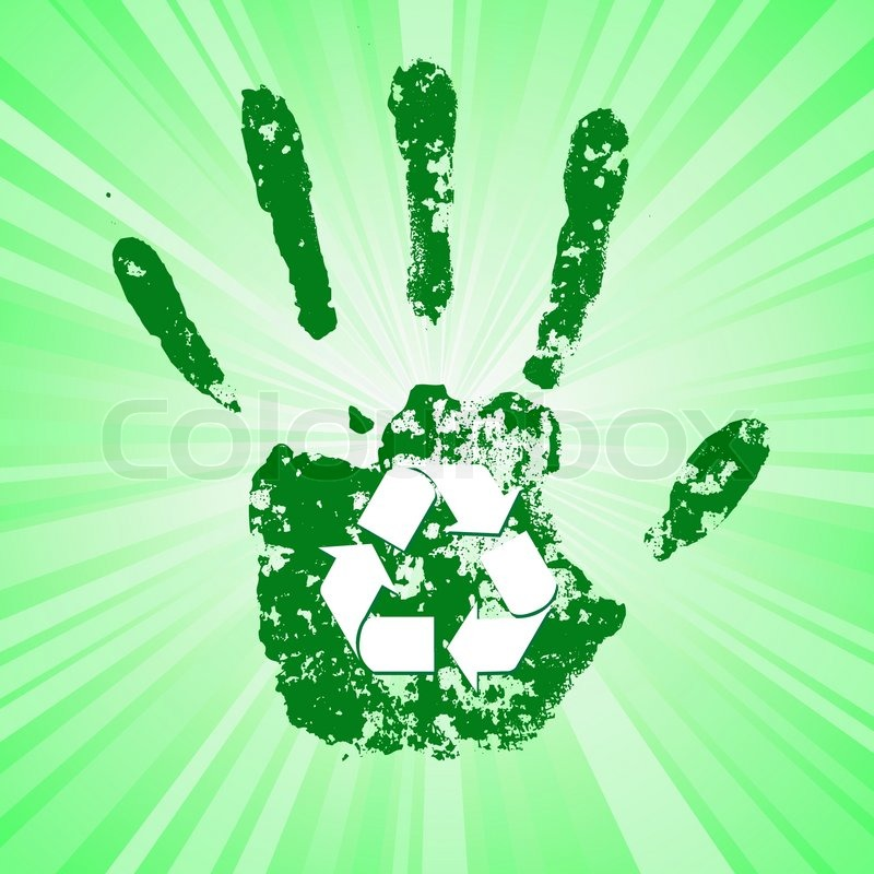 Cool Recycle Symbol Hand Print With Recycle Symbol