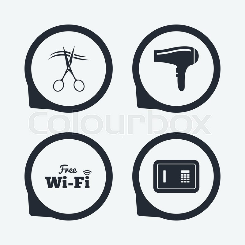 Hotel Services Icons Wi Fi Hairdryer And Deposit Lock In Room