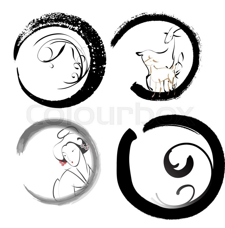 Enso Is A Sign Of A Calligraphic Symbol Of Zen Buddhism Stock