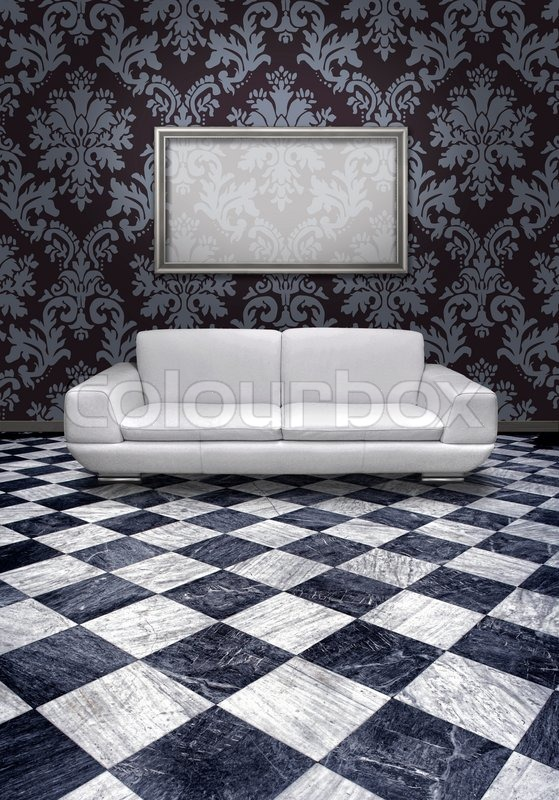 Marble Floor Types And Prices In Lahore: Modern White Leather Sofa And Silver Plated Frame In Room