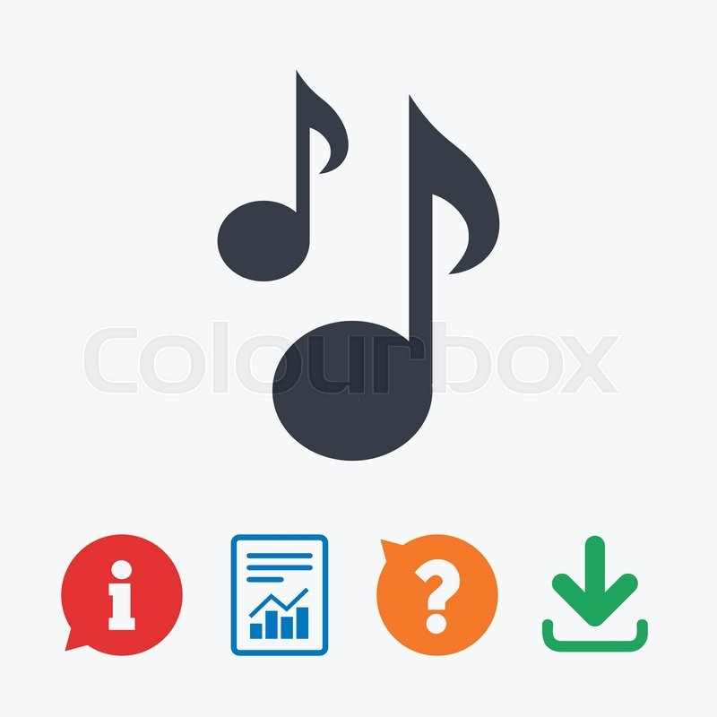 Music Notes Sign Icon Musical Symbol Information Think Bubble