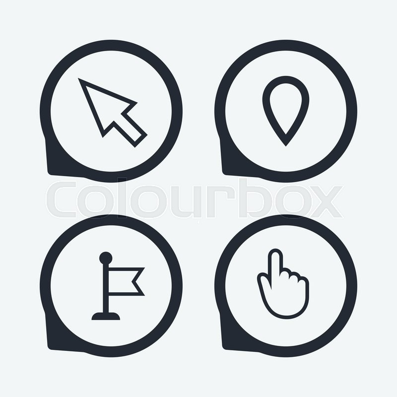 Mouse Cursor Icon Hand Or Flag Pointer Symbols Map Location Marker