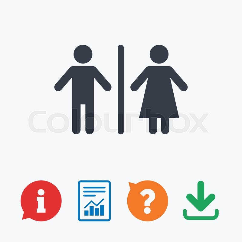 WC sign icon. Toilet symbol. Male and Female toilet. Information ...