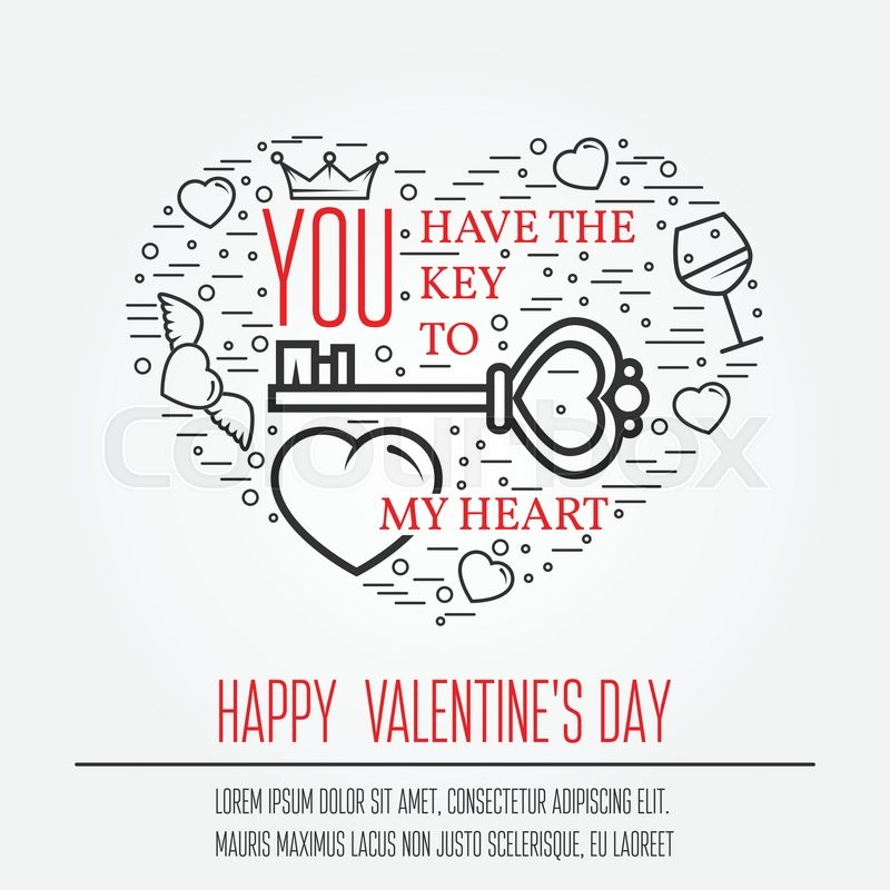 Happy Valentine\'s Day greetings card, labels, badges, symbols ...