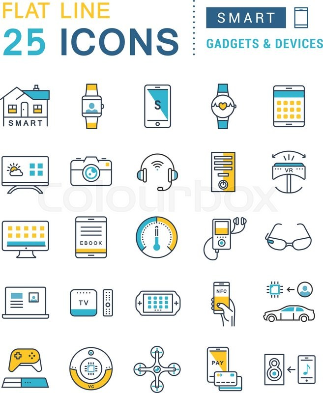 Set vector line icons in flat design smart device and gadgets, smart ...