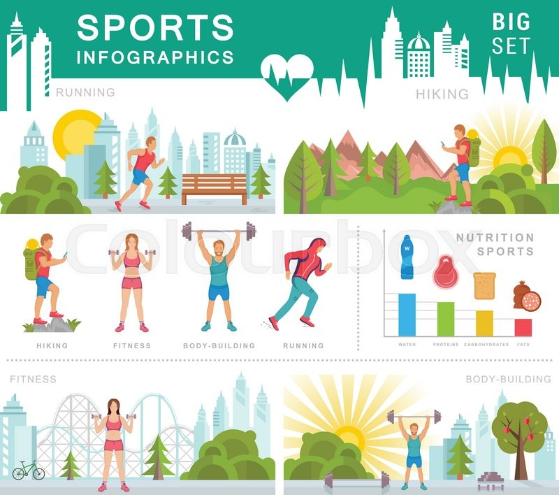 Sport infographic banners and elements with running for Sports infographics templates