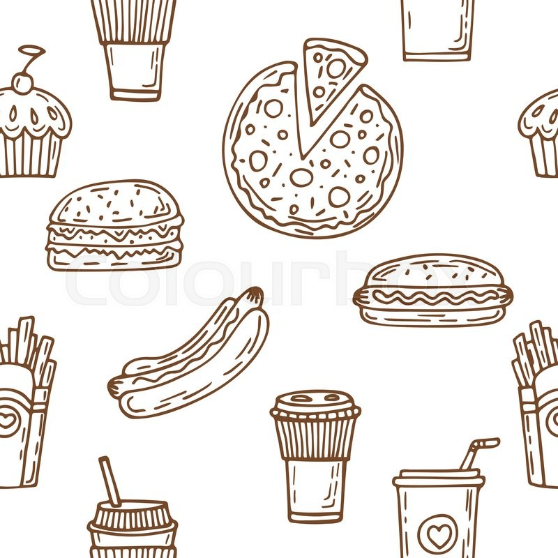 Fast Food Seamless Pattern. Hand Drawn Food Background