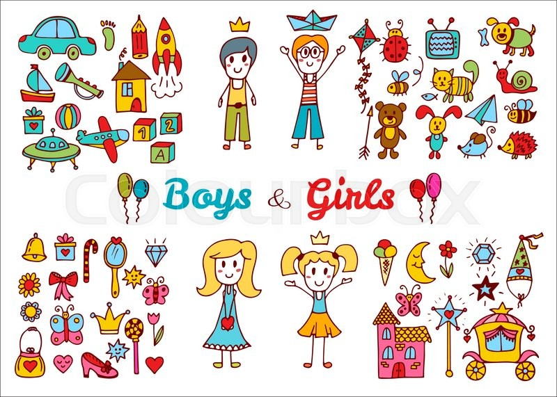 Boy Toys Drawing : Hand drawn baby boy and girl toys set doodle children