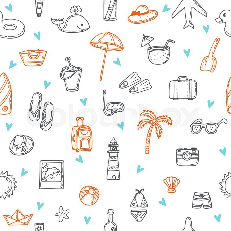 cute hand drawn summer time theme seamless pattern beach theme