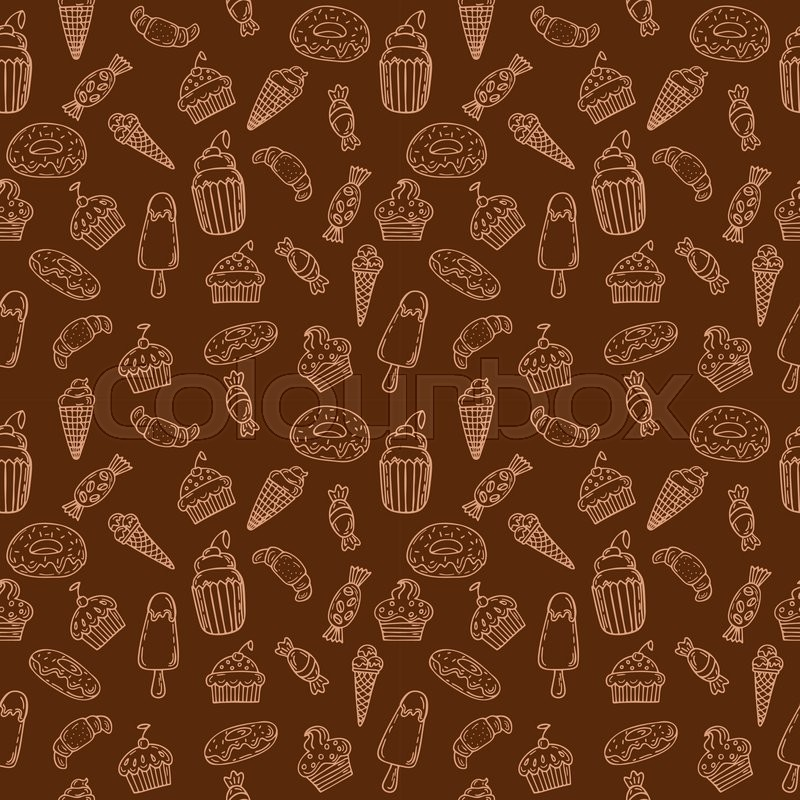 Hand Drawn Seamless Pattern With Stock Vector