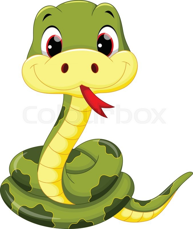 Vector illustration of cute baby snake cartoon | Stock Vector | Colourbox