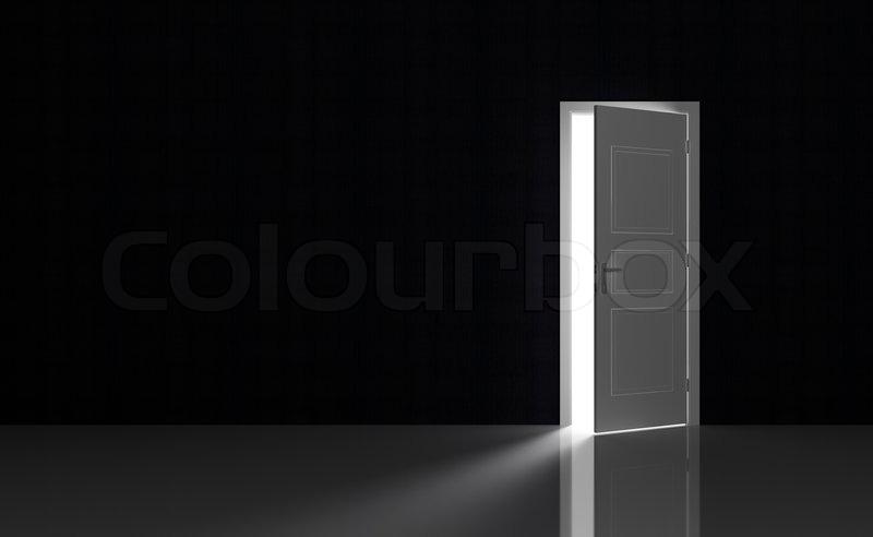 Open White Door In A Black Empty Room Stock Photo