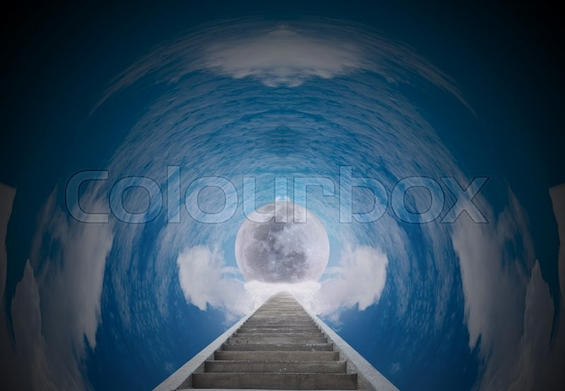 The shortcut to the moon with beautiful circle sky, stock photo
