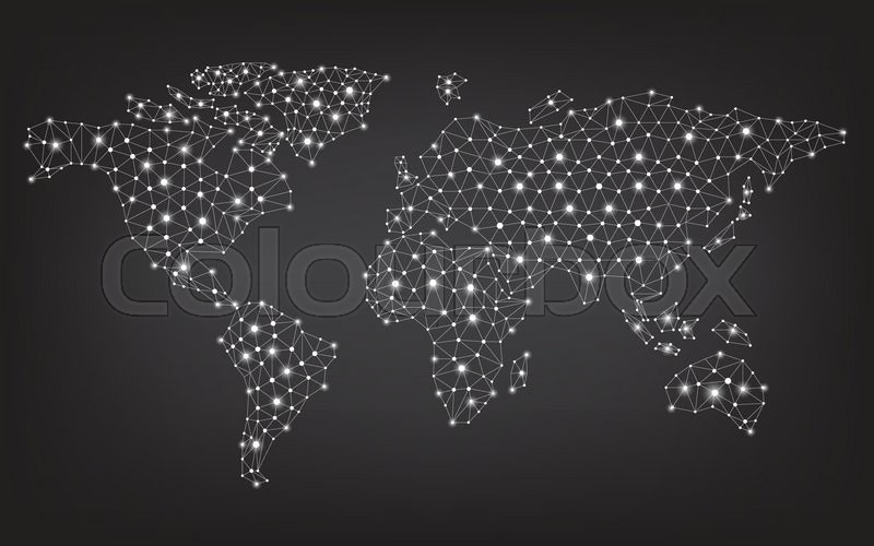 Abstract telecommunication world map with circles lines and abstract telecommunication world map with circles lines and gradients vector design vector gumiabroncs Images