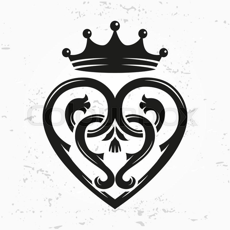 Luckenbooth Brooch Vector Design Element Vintage Scottish Heart