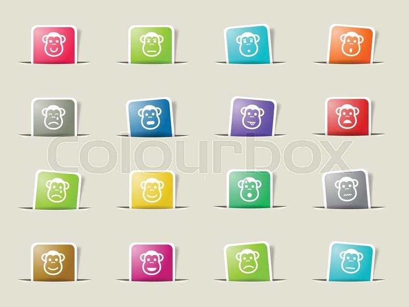Monkey emotions icons set for web sites and user interface, vector