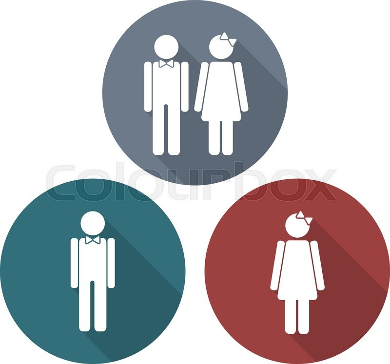 Man And Woman Symbols In Flat Style With Long Shadows Vector Signs Unique Bathroom Sign Vector Style