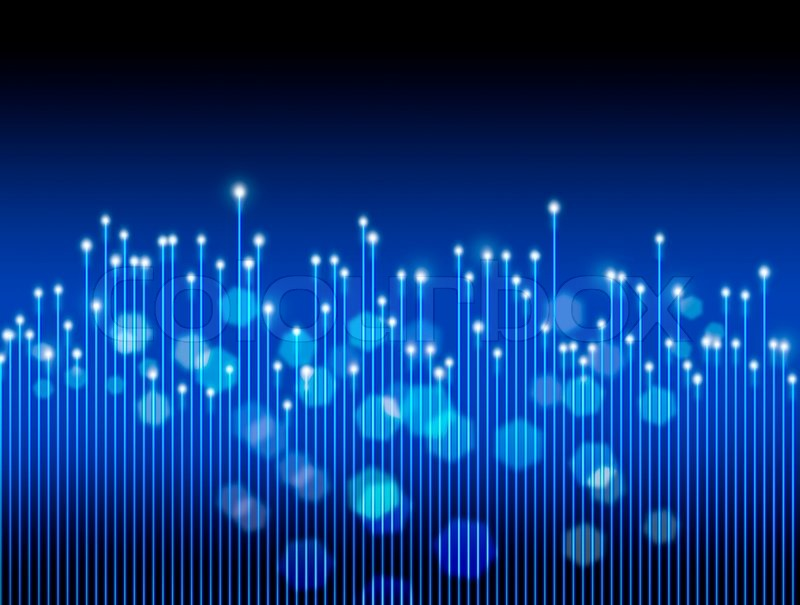 Optical fibres in motion, on dark blue and black background ...