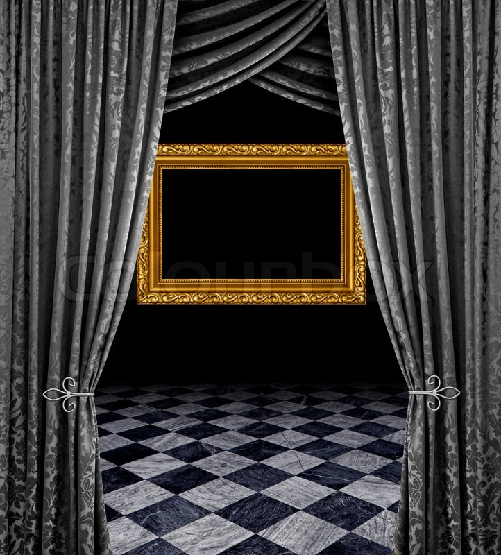 Silver Stage Curtains Reveal Frame And Checkered Marble
