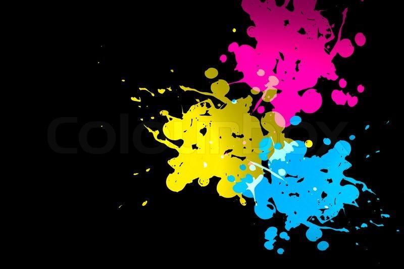 Black And Neon Paint Splatter Design
