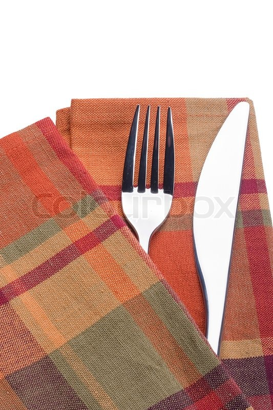 Knife And Fork On A Red Napkin Tableware Stock Photo