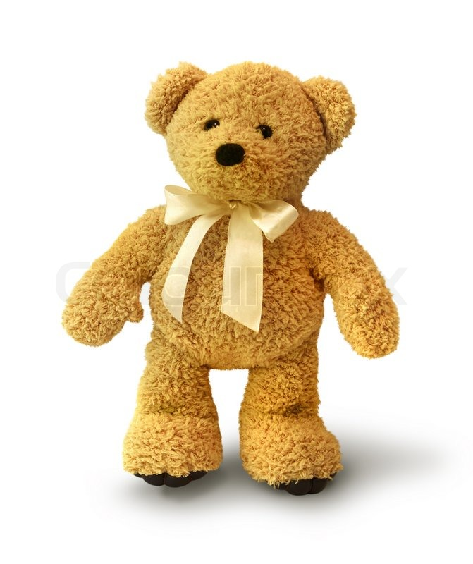 Cute teddy bear walking on white background isolated | Stock Photo ...