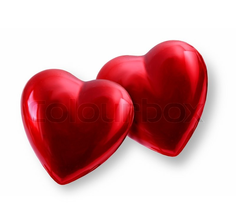 pair of vivid red shiny valentine hearts together stock photo colourbox