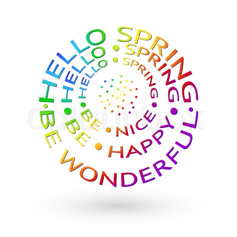 rainbow lettering hello spring on a white background spring
