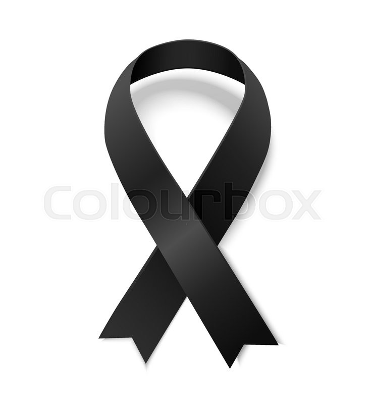 Black Awareness Ribbon Symbol Of Remembrance And Mourning Vector