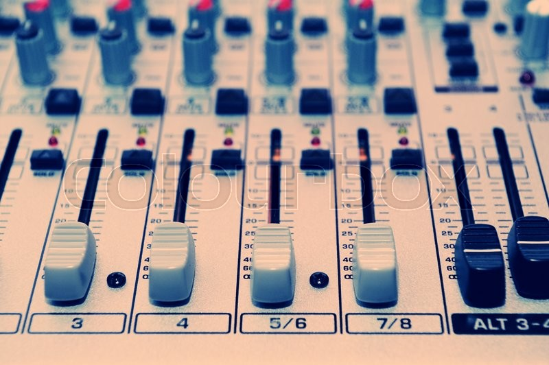 Buttons equipment in audio Mixing Console. Music equipment, stock photo