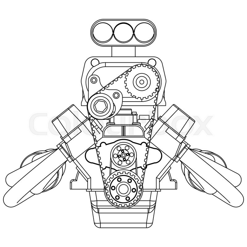 schematic drawing of hot rod engine