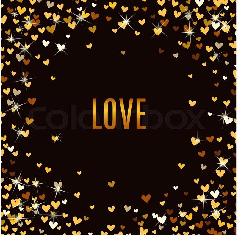 Romantic Golden Heart Frame On Black Background Vector