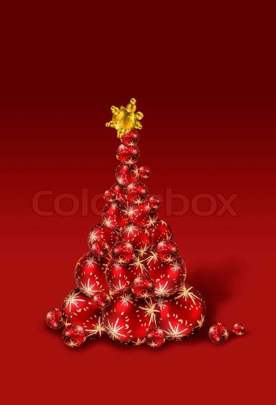 Christmas Tree Made Of Red And Gold Decoration Balls On Dark Background