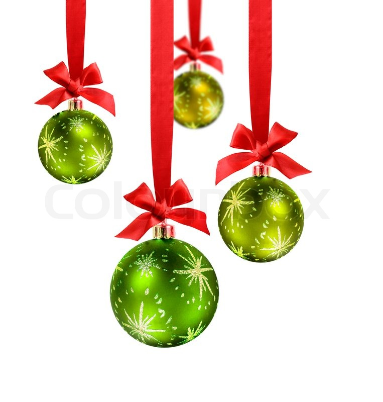 decorated green christmas balls hanging in red silk ribbons with know and bow stock photo. Black Bedroom Furniture Sets. Home Design Ideas