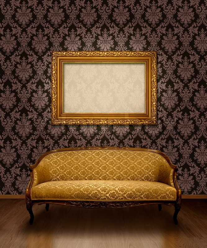 Classic Antique Sofa And Gold Plated Frame In Room With