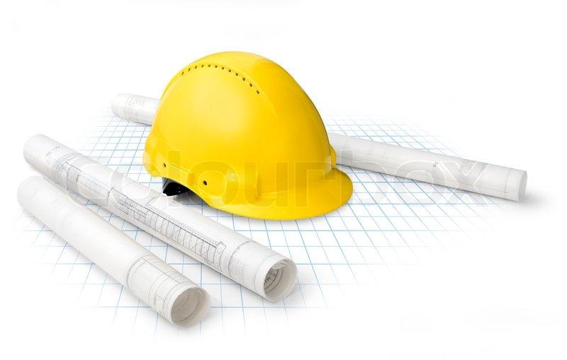 Construction drawing blueprints and yellow hard hat   -> Kuchnia Letnia Prawo Budowlane