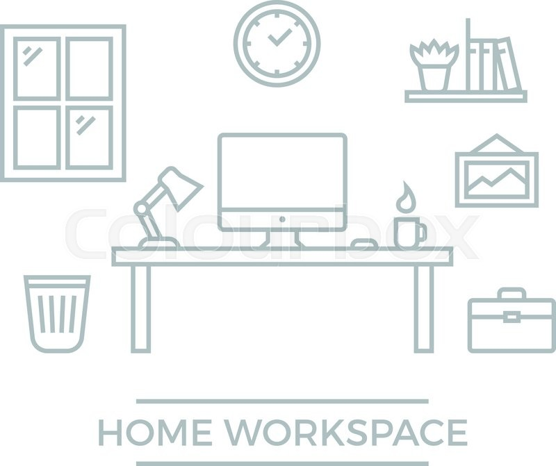 flat workspace home office. freelance designer workspace flat line developer workplace vector illustration home office with desk computer clock wall picture and bookshelf stock p