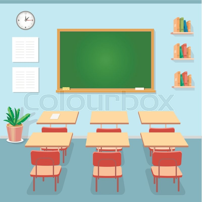 Modern Classroom Vector ~ School classroom with chalkboard and desks class for