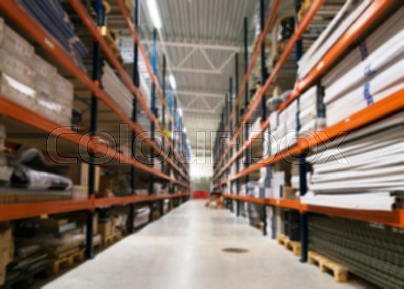 Blurred Warehouse Storage Racks Stock Photo Colourbox