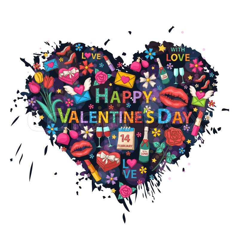 Happy Valentines Day Card Clip Art Set On The Heart Background Of